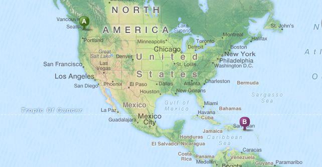Seattle to PR map